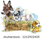 Stock photo farms animal set cute domestic pets watercolor illustration lamb donkey chiken goat puppy dog 1212922435