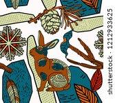 winter seamless pattern  rabbit ...   Shutterstock .eps vector #1212933625