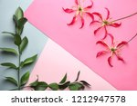 beautiful tropical flowers with ... | Shutterstock . vector #1212947578