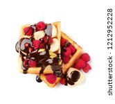 tasty waffles with fruit ...   Shutterstock . vector #1212952228