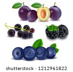set of fresh fruits and berries ... | Shutterstock .eps vector #1212961822