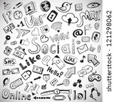 vector set of hand drawn social ... | Shutterstock .eps vector #121298062
