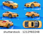 set yellow small sports car... | Shutterstock . vector #1212983248