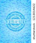 verified sky blue mosaic emblem | Shutterstock .eps vector #1213014622
