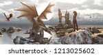 3d fantasy dragon resting on... | Shutterstock . vector #1213025602