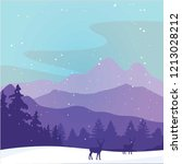 hello winter with mountain and... | Shutterstock .eps vector #1213028212