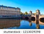 city river bridge reflection in ...   Shutterstock . vector #1213029298