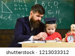 kid studies individually with...   Shutterstock . vector #1213033312