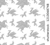 origami. paper figures. magical ... | Shutterstock .eps vector #1213068748