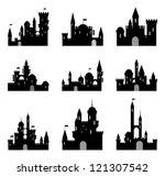 Set Of Black Medieval Castle...