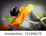 italian food. pasta penne with... | Shutterstock . vector #121308175