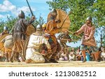 viking battle in medieval... | Shutterstock . vector #1213082512