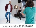 model posing for a photoshoot... | Shutterstock . vector #1213126408