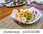 spicy winged bean salad  yum... | Shutterstock . vector #1213132288