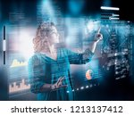 woman working on digital touch... | Shutterstock . vector #1213137412