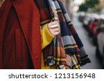 detail of woman wearing winter... | Shutterstock . vector #1213156948