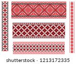 set of seamless embroidered... | Shutterstock .eps vector #1213172335