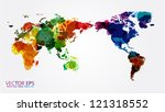 world map watercolor  vector... | Shutterstock .eps vector #121318552