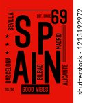 spain good vibes t shirt design | Shutterstock .eps vector #1213192972