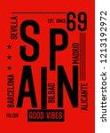 spain good vibes t shirt design | Shutterstock .eps vector #1213192972
