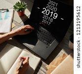 2019 year change. goal setting...   Shutterstock . vector #1213195612