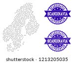dotted black map of scandinavia ... | Shutterstock .eps vector #1213205035