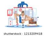 internet dependent puppet... | Shutterstock .eps vector #1213209418
