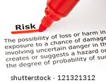 Small photo of Definition of the word Risk, underlined with red marker