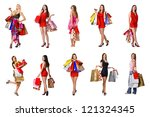 set of funny clown standing... | Shutterstock . vector #121324345