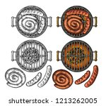 barbecue grill top view with... | Shutterstock .eps vector #1213262005