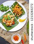 ayam geprek   jamur crispy ... | Shutterstock . vector #1213283272