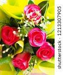 fake bouquet and flower. | Shutterstock . vector #1213307905