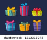 set of boxes with gifts.... | Shutterstock .eps vector #1213319248