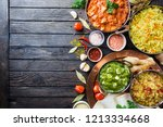 different bowls with assorted... | Shutterstock . vector #1213334668