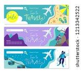 travel banner for web site. set ... | Shutterstock .eps vector #1213342522