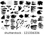Brush strokes and Ink and Paint Splatters Vector set