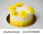 cake with yellow stains  yellow ... | Shutterstock . vector #1213370008