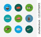 nutrition icons set. sashimi...