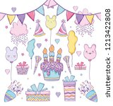birthday celebration with party ... | Shutterstock .eps vector #1213422808