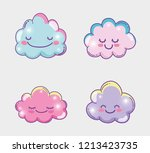 set happy fluffy clouds... | Shutterstock .eps vector #1213423735