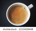 hot coffee on black background | Shutterstock . vector #1213428448