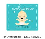 celebration welcome for baby boy | Shutterstock .eps vector #1213435282