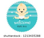 celebration welcome for baby boy | Shutterstock .eps vector #1213435288