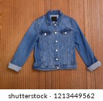 front view  blue jacket jeans...   Shutterstock . vector #1213449562