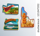 ,apple tree,artwork,badge,colorful,crater lake,decal,destination,diorama,display letters,drawing,editable,emblem,frame,holiday