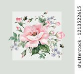 Stock photo floral watercolor arrangement of roses and wild flowers sketch with colored pencils and 1213522615