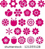 Stock vector set of vectorized flowers 121355128