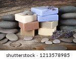 stack of assorted natural soap...   Shutterstock . vector #1213578985
