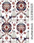 modern turkish tile motif.... | Shutterstock . vector #1213581025
