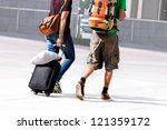 young couple with a travel bag. ... | Shutterstock . vector #121359172